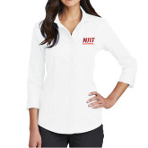 Ladies Red House White 3/4 Sleeve Shirt-Stacked Wordmark