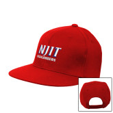 Red Flat Bill Snapback Hat-Stacked Wordmark