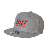 Heather Grey Wool Blend Flat Bill Snapback Hat-Stacked Wordmark
