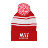 Red/White Two Tone Knit Pom Beanie w/Cuff-Stacked Wordmark