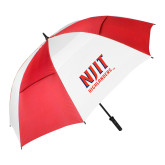 62 Inch Red/White Vented Umbrella-Stacked Wordmark