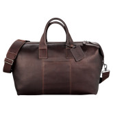 Kenneth Cole Columbian Leather Mahogany Weekender Duffel-Kidney Care Debossed