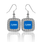 Crystal Studded Square Pendant Silver Dangle Earrings-Kidney Care
