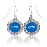 Crystal Studded Round Pendant Silver Dangle Earrings-Kidney Care