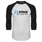 White/Black Raglan Baseball T-Shirt-Kidney Care