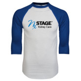 White/Royal Raglan Baseball T Shirt-Kidney Care