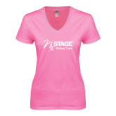 Next Level Ladies Junior Fit Ideal V Pink Tee-Kidney Care