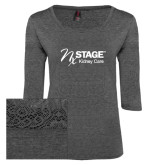 Ladies Charcoal Heather Tri Blend Lace 3/4 Sleeve Tee-Kidney Care