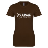 Next Level Ladies SoftStyle Junior Fitted Dark Chocolate Tee-Kidney Care