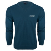 Classic Mens V Neck Moroccan Blue Sweater-Kidney Care