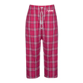 Ladies Dark Fuchsia/White Flannel Pajama Pant-Kidney Care