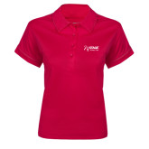 Ladies Pink Raspberry Contrast Stitch Micropique Sport Wick Polo-Kidney Care