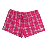 Ladies Dark Fuchsia/White Juniors Flannel Plaid Boxer-Kidney Care