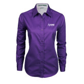 Ladies Purple Twill Button Down Long Sleeve-Kidney Care