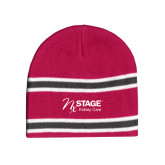 Pink/Charcoal/White Striped Knit Beanie-Kidney Care