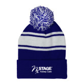 Royal/White Two Tone Knit Pom Beanie with Cuff-Kidney Care