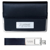 Business Card Case and Key Ring Set Black-Kidney Care Engraved