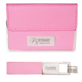 Business Card Case and Key Ring Set Pink-Kidney Care Engraved