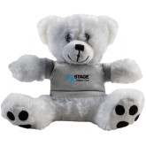 Plush Big Paw 8 1/2 inch White Bear w/Grey Shirt-Kidney Care