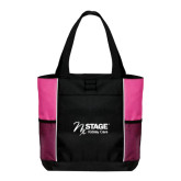 Black/Tropical Pink Panel Tote-Kidney Care