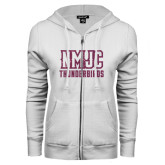 ENZA Ladies White Fleece Full Zip Hoodie-NMJC Thunderbirds Lettermark Pink Glitter