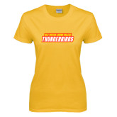 Ladies Gold T Shirt-Thunderbirds Word Mark