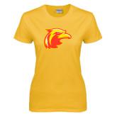 Ladies Gold T Shirt-Thunderbird Head