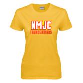 Ladies Gold T Shirt-NMJC Thunderbirds Lettermark