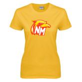 Ladies Gold T Shirt-NM Head Logo