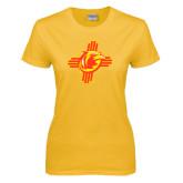 Ladies Gold T Shirt-Thunderbirds Zia Logo