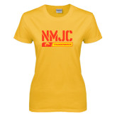 Ladies Gold T Shirt-NMJC Thunderbirds Stencil Bar