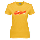 Ladies Gold T Shirt-Slanted Thunderbirds Stencil
