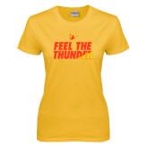 Ladies Gold T Shirt-Feel The Thunder