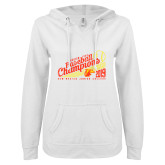 ENZA Ladies White V Notch Raw Edge Fleece Hoodie-2019 Baseball Champions