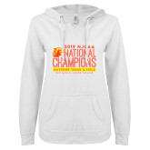 ENZA Ladies White V Notch Raw Edge Fleece Hoodie-2019 NJCAA National Outdoor Track and Field Champions