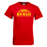 Red T Shirt-New Mexico Junior College Basketball Half Ball
