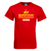 Red T Shirt-Rodeo Textured with Rider