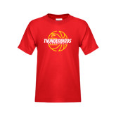 Youth Red T Shirt-Thunderbirds Basketball Lined Ball