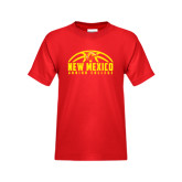 Youth Red T Shirt-New Mexico Junior College Basketball Half Ball