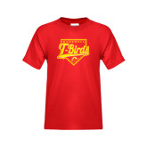 Youth Red T Shirt-T-Birds Baseball Script and Plate