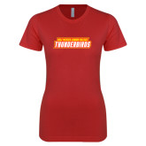 Next Level Ladies SoftStyle Junior Fitted Red Tee-Thunderbirds Word Mark
