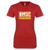 Next Level Ladies SoftStyle Junior Fitted Red Tee-NMJC Thunderbirds Lettermark