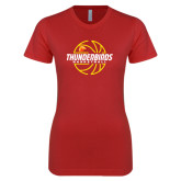 Next Level Ladies SoftStyle Junior Fitted Red Tee-Thunderbirds Basketball Lined Ball