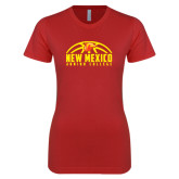 Next Level Ladies SoftStyle Junior Fitted Red Tee-New Mexico Junior College Basketball Half Ball