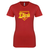 Next Level Ladies SoftStyle Junior Fitted Red Tee-T-Birds Baseball Script and Plate