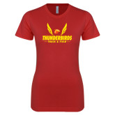 Next Level Ladies SoftStyle Junior Fitted Red Tee-Thunderbirds Track & Field Wings
