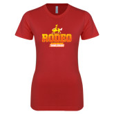 Next Level Ladies SoftStyle Junior Fitted Red Tee-Rodeo Textured with Rider
