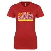 Next Level Ladies SoftStyle Junior Fitted Red Tee-2019 NJCAA National Outdoor Track and Field Champions