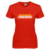 Ladies Red T Shirt-Thunderbirds Word Mark