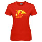 Ladies Red T Shirt-Thunderbird Head